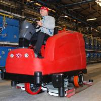 INTRODUCING THE MIGHTY *TERA*!<br>The Eco-Friendly Ride-On Scrubber Drier from RCM for large surfaces available NOW